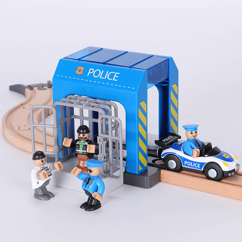 A Set Of Police Thief Catching Building Block Suit Compatible With Wooden Train Track Toy Simulation Plastic Police Station Suit