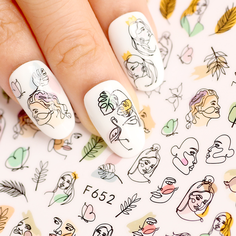 <font><b>Nail</b></font> <font><b>Sticker</b></font> Mixed Floral Geometric <font><b>Sexy</b></font> Girl Butterfly <font><b>Nail</b></font> Art Self-adhesive Decals Tattoos Manicure Decals F652 image