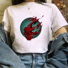 2020 Женская летняя футболка в виде красочного черепа печатных