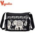 Yogodlns Высококачественная нейлоновая Холщовая Сумка на плечо для женщин, клатч, маленькая сумка-мессенджер с традиционным принтом слона для женщин - фото