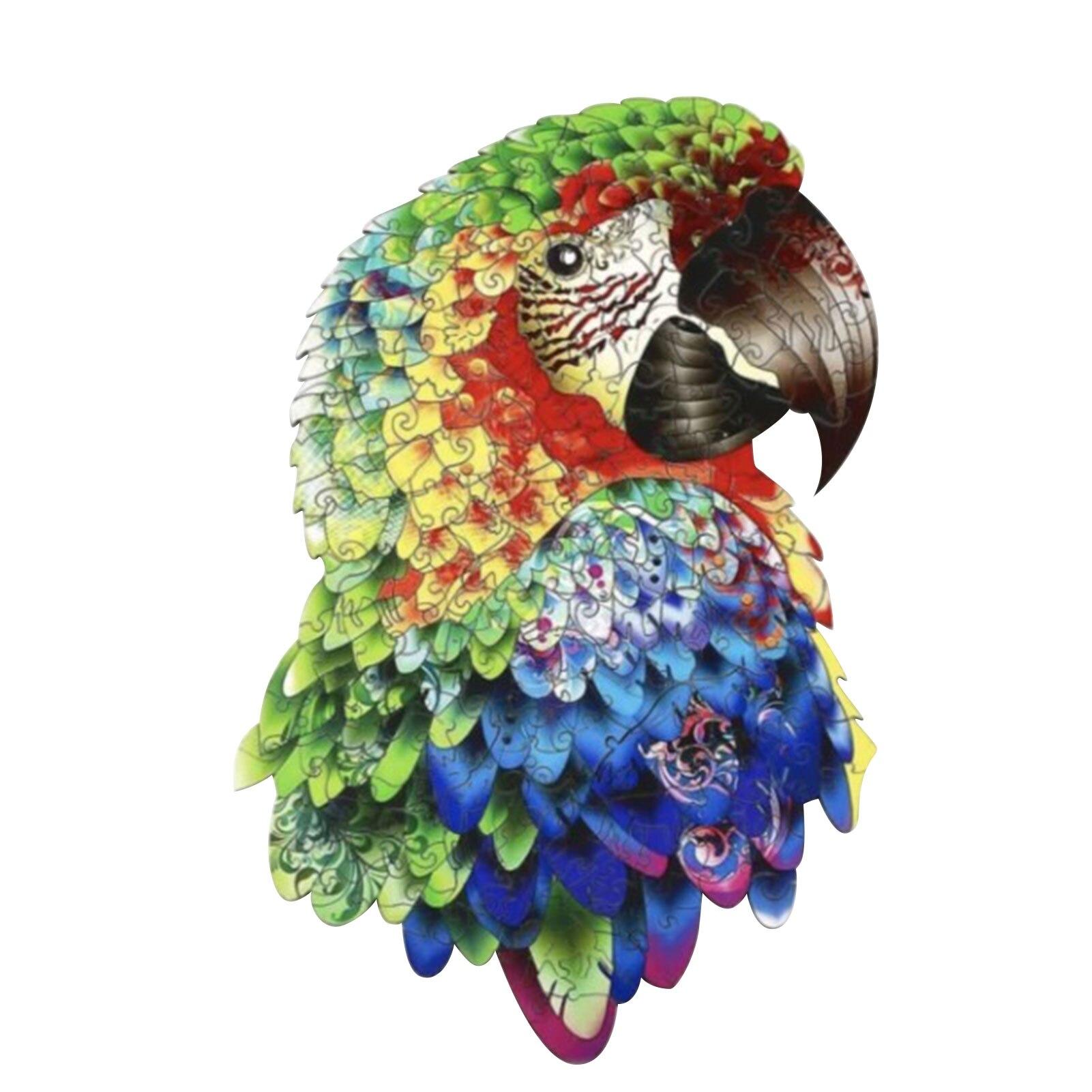 Papagaio de madeira quebra-cabeças para adultos crianças diy artesanato quebra-cabeça peças melhor presente para crianças quebra-cabeça