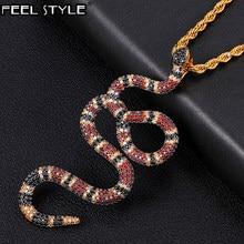 Hip Hop – colliers et pendentifs en zircon cubique pour hommes, serpent de corail glacé en or blanc, bijoux avec dos solide