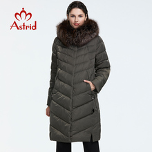 Astrid 2019 Winter new arrival down jacket women with a fur collar loose clothing outerwear quality women winter coat FR-2160 cheap Office Lady zipper Full COTTON Polyester Sustans Thick (Winter) Woven REGULAR Solid X-Long Pockets Zippers