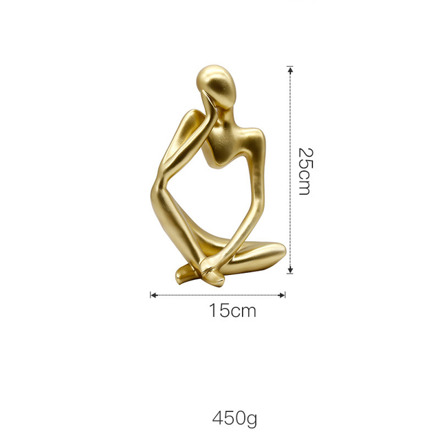 Nordic Abstract Character Golden Decoration Creative Home Ornament Drawing Room Office Sandstone Decor gift statue Sculpture 5
