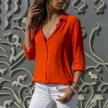 Modna bluzka damska szyfonowa koszulka Solid biurowa damska zwykły rolki rękaw bluzka bluzki Dames Chemisier Femme kobiety bluzka tanie i dobre opinie Poliester CN (pochodzenie) Wiosna jesień REGULAR Osób w wieku 18-35 lat V-neck WOMEN NONE Pełna Na co dzień Stałe Shirt