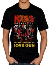 Official Kiss Love Gun Glow T-Shirt Hotter Than Hell Psycho Circus Revenge Cotton Tee Shirt Homme Customized(China)