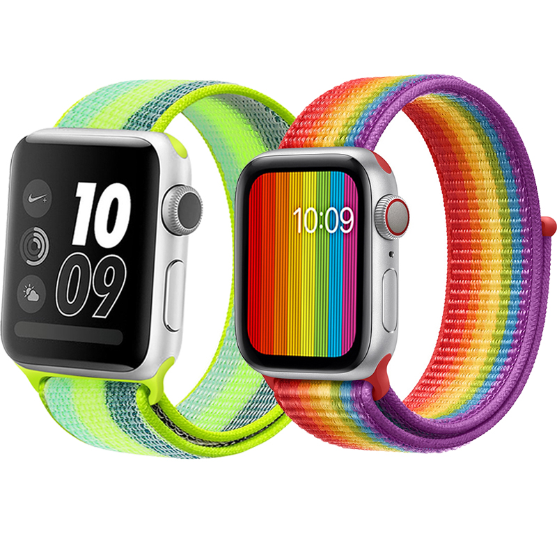 Straps For Apple Watch Band 38/40/42/44mm Bracelet IWatch Serie 5 4 3 2 1 Nylon Breathable Correa Sport Loop Smartwatch Band