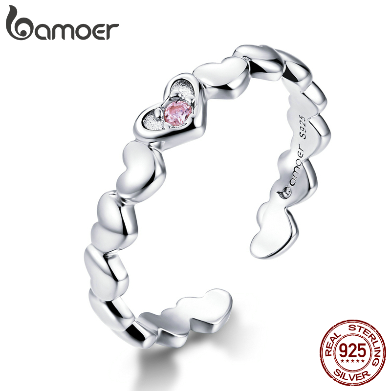 Bamoer Pink CZ Heart Stackable Finger Rings For Women Free Size Adjustable Bands 925 Sterling Silver Jewelry Accessories BSR100