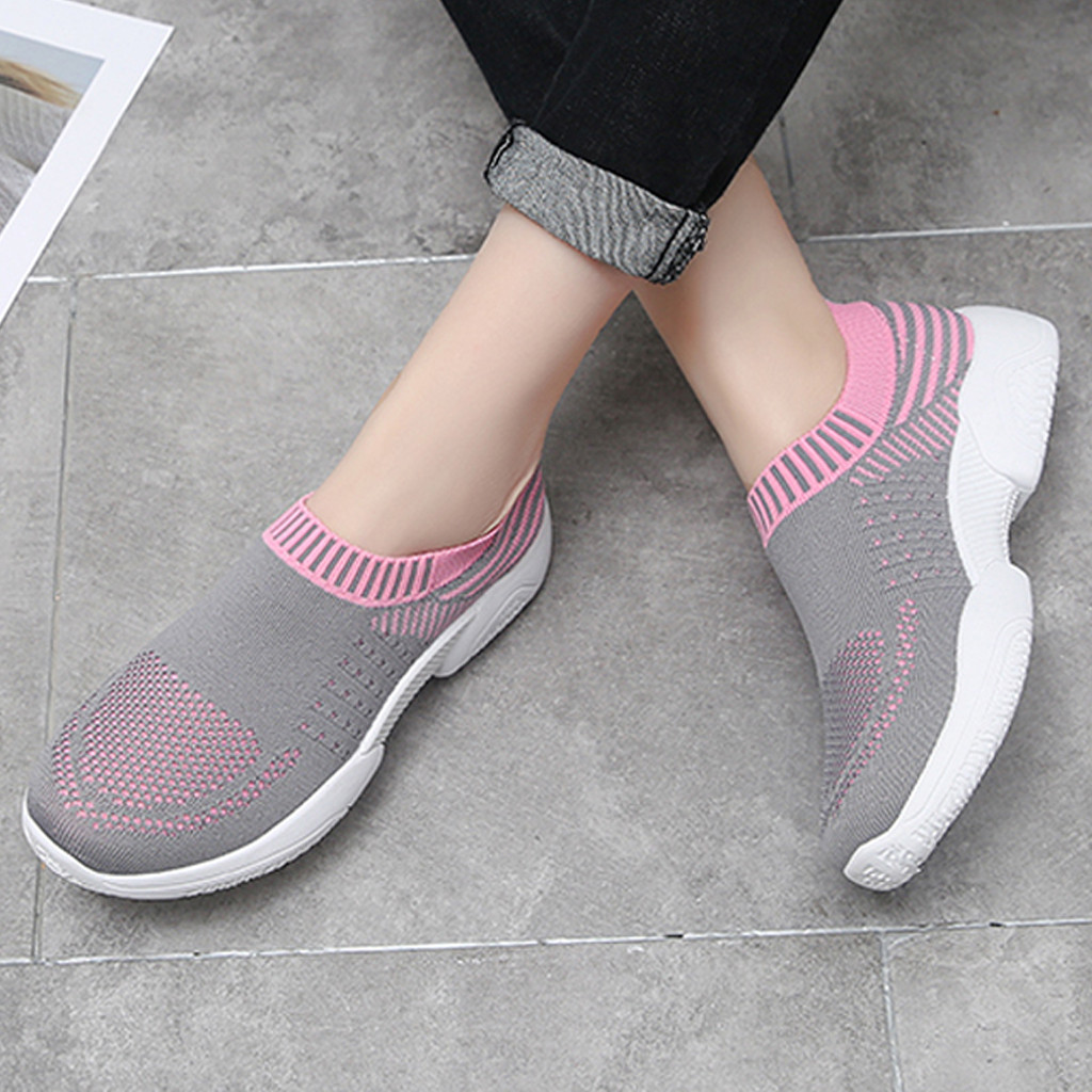Ladies' Sneakers Breathable Mesh Sneakers Women 2019 Spring Slip On Platform Knitting Flats Soft Walking Shoes Woman