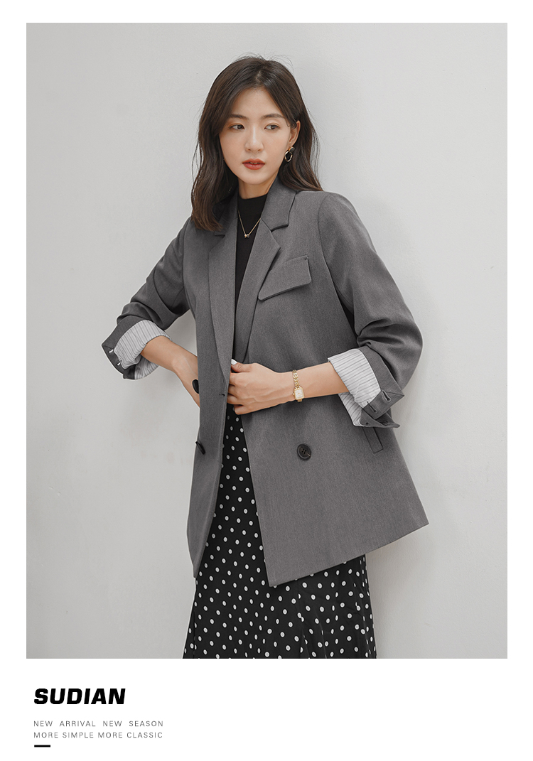 Korean Casual Women Suit Jacket Loose Solid Gray Stylish Jacket Simple Blazer Paillette Retro Women Party Jacket New MM60NXZ
