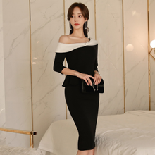 One Shoulder Bodycon Women Dress White Black Color Block 3/4 Sleeve Elegant Ruffles Lady Party Work Pencil Dress Vestidos AQ106(China)