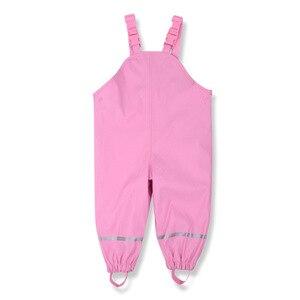 Image 3 - Детские Водонепроницаемые штаны из ПУ кожи, с флисовой подкладкой, 85 130 см