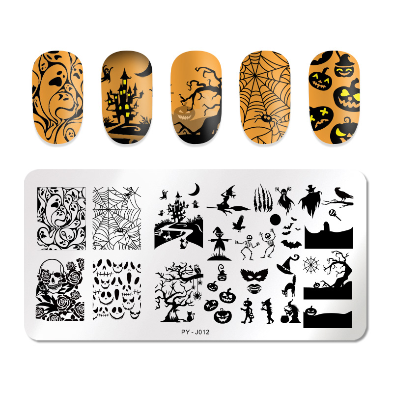 Image 2 - PICT YOU Halloween Nail Stamping Plates Pumpkin Flowers Animal Tropical Geometry Pattern Nail Art Image Lace Stamp Templates-in Nail Art Templates from Beauty & Health