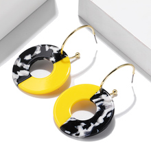 2019 Korean Version Of Acetate Earrings Geometric Round For Women Simple Personality Brinecos Jewelry Wholesale