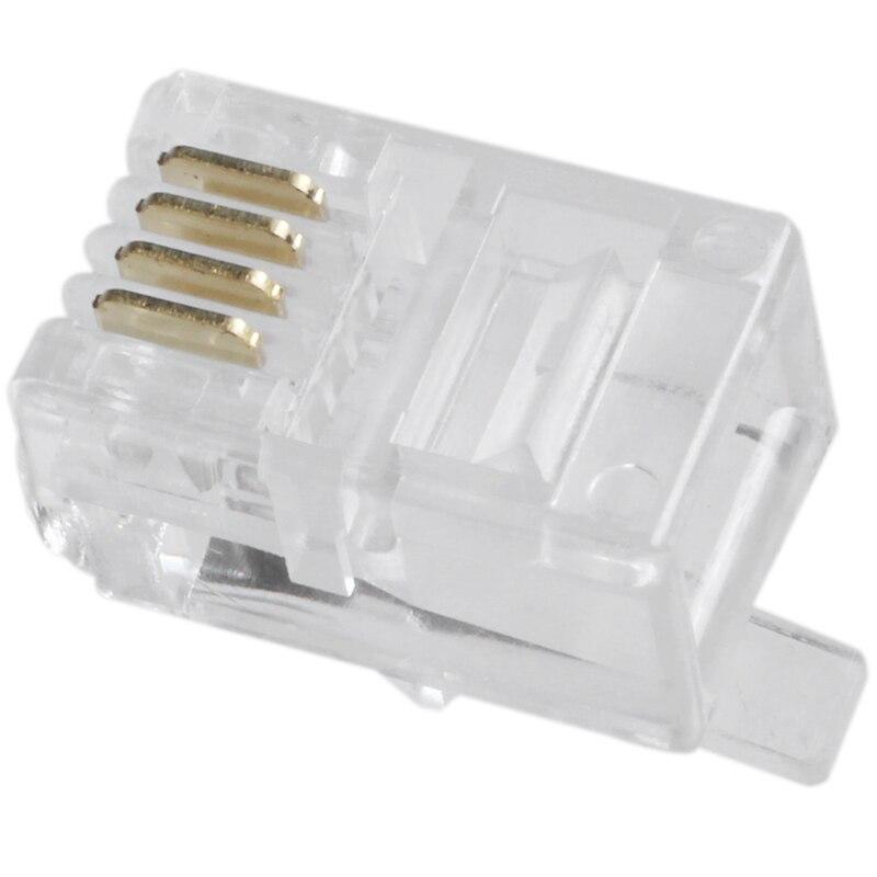 Clear Plastic 30 Pcs 4P4C Connector RJ9 Phone Adapter