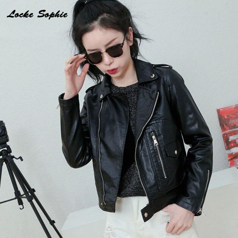 Womens Plus size slim fit short jacket coats 2019 Autumn faux fur PU   Leather   chain Splicing Jacket ladies loose locomotive coats
