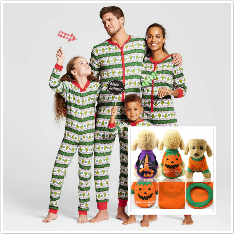 2019 Christmas Pajamas Clothes Family Nightware  Winter Cotton Long Sleeve Father Mother Children Dog  Family Matching Clothes