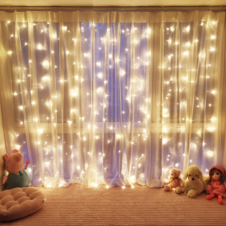 2x2/3x2/3x3m led icicle led curtain fairy string light fairy light 300 led Christmas light for Wedding home window party decor