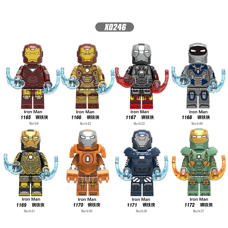 Single Sale Building Blocks Super Heroes Bricks Iron Man Mark 6 Mark 42 Mark 22 Mark 36 Mark 28 Figures For Children Toys X0246