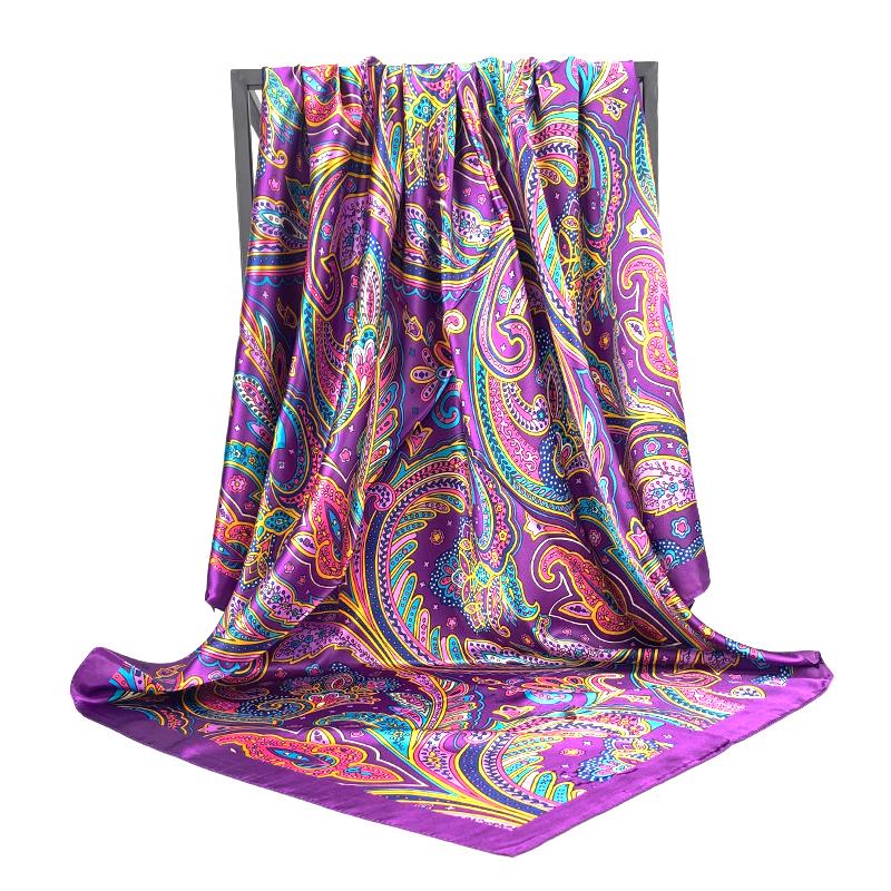 90X90CM Scarves Women Print Hair Neck Square Silk Scarf Office Ladies Shawl Bandana Handkerchief Headcloth Foulard Female Wraps