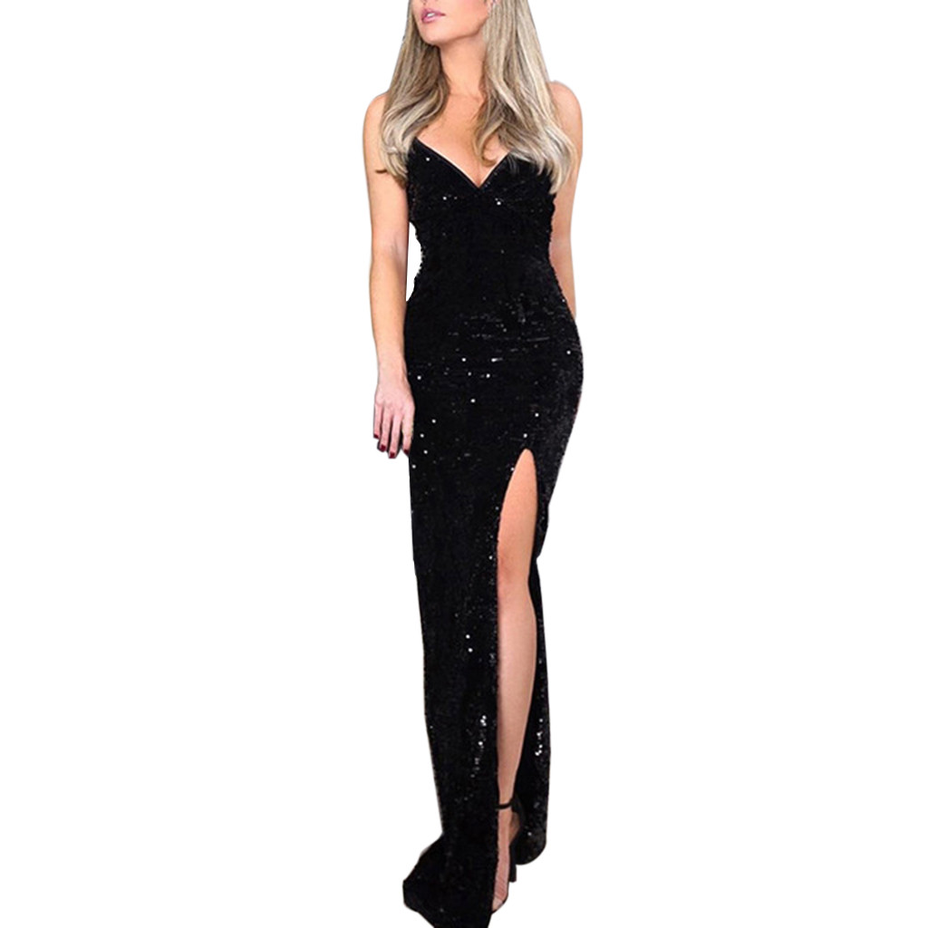 Feitong Deep V Sequins Dress Women Wrap Ruched Sleeveless Black Long Dresses Ladies Cocktail Nightclub Party Dress Vestidos 2020
