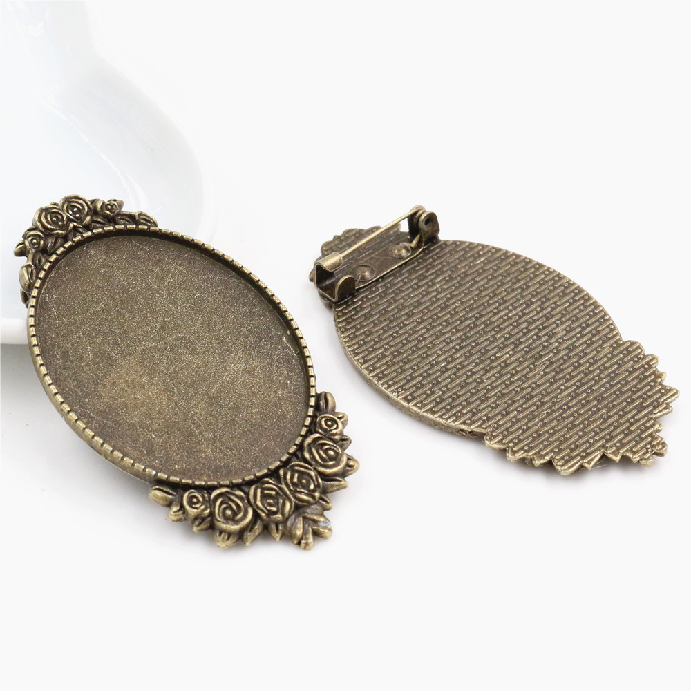 New Fashion  5pcs 30x40mm Inner Size Antique Bronze Pin Brooch Pierced Style Base Setting Pendant (B1-16)