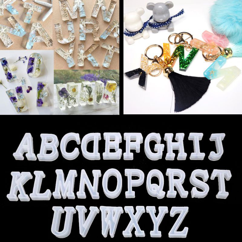 26pcs/set Number Alphabet Jewelry Casting Mold Reversed Letter Jewelry Making Mold Craft