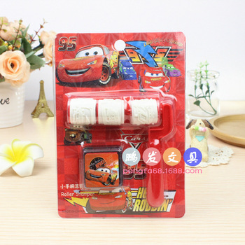 Cartoon cars Self Roller Stamper Art Children Toy Party Favor Painting Template DIY Supplie Disposable Items image