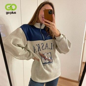 GOPLUS Women Hoodie Collar Sweatshirts Stand Half Zipper Letter Printing Long Sleeve Sweatshirts Vintage Casual Plus Size Hoodie 1