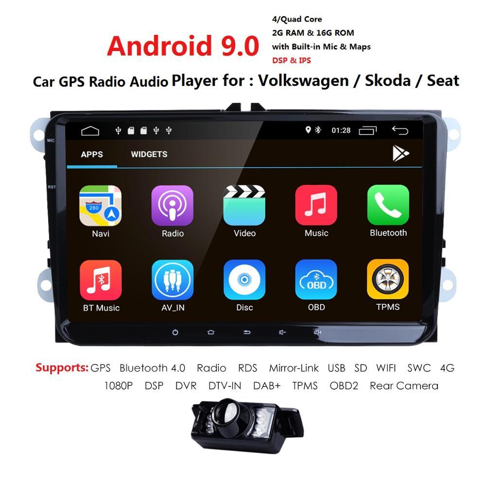 2 Din 9 ''grand écran Android 9.0 lecteur d'autoradio pour VW/Volkswagen POLO PASSAT Golf Skoda siège Wifi Radio Bluetooth DAB + Cam + carte