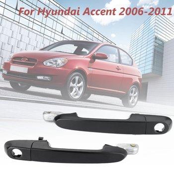 Punho exterior exterior direito dianteiro preto liso da porta do lado do passageiro para o acento 2006-2011 de hyundai