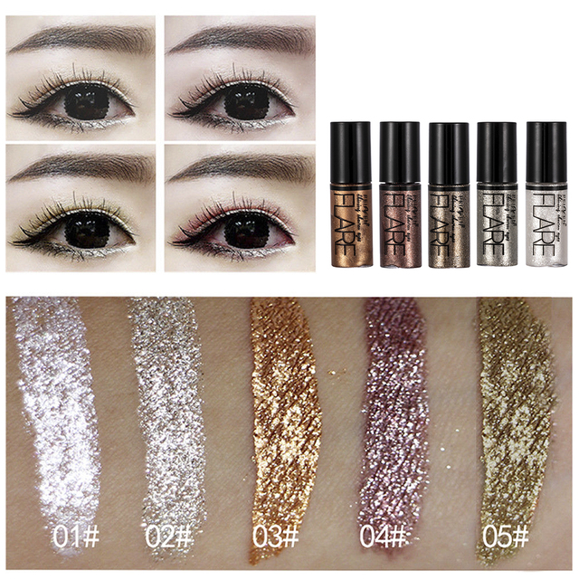 5 Color Metallic Shiny Eyeshadow Glitter Liquid Eyeliner Makeup Eye Liner Pen-Waterproof Makeup Pigment Eyeshadow Palette 1