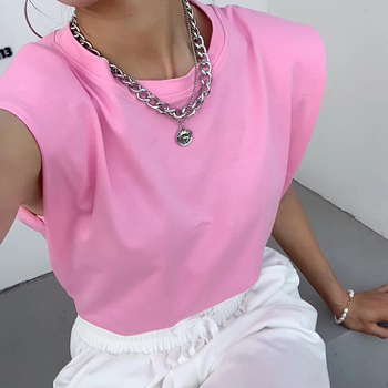 цена на Pink Spring Summer White Loose Sleeveless Tops Women 2020 O Neck Camis Casual Basic Sport Vest Tops Female Streetwear Tank Top