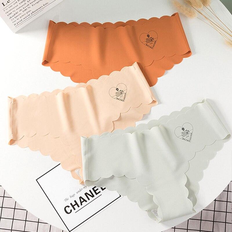 3pcs/lot Women Panties Set Seamless Briefs Soft Ice Silk Underpants Sexy Underwear Mid Waist Pants Lingerie Panty Thong #F