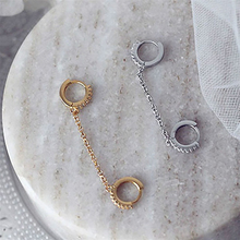 One PCS Two Hole Piercing Earrings Crystal Zircon 3 Metal Color Chain SA