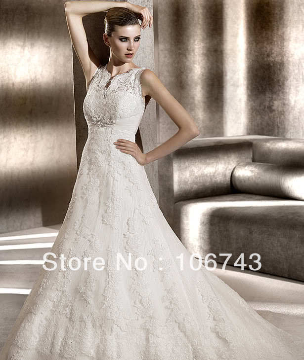 Free Shipping 2016 New Style Hot Sale Sexy Bride Wedding Sweet Princess Lace Embroidery Custom Size  Wedding Dress
