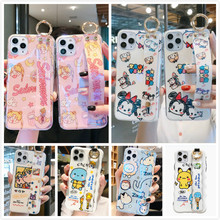 Cute Girl Wrist Strap Case for IPhone 11 Pro XS Max Case Cartoon Bear Silicone Cover for IPhone SE 2 2020 XR 6S 7 8 Plus Lanyard(China)