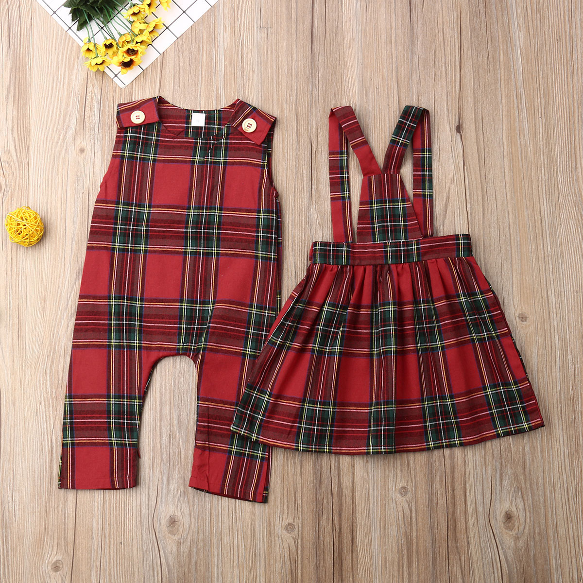 Christmas Sister Match Xmas Clothes Sleeveless Romper Strap Dress Skirts Baby Boys Girls Plaid Party Pageant Outfit 0-5Y