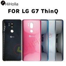 Coque arrière en verre pour LG G7 ThinQ, boîtier de batterie, objectif dappareil photo, ruban adhésif