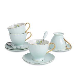 Artvigor Xícara e Pires de Porcelana New Bone China Coffee & Tea Sets com Serviço para 4 pessoa Café Colheres e chá da tarde -