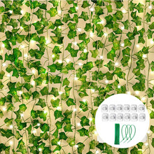 12pcs Artificial Ivy Leaf Plants Vine Hanging Garland Fake Vines with LED Lights Flowers Home Kitchen Garden Wedding Wall Decor