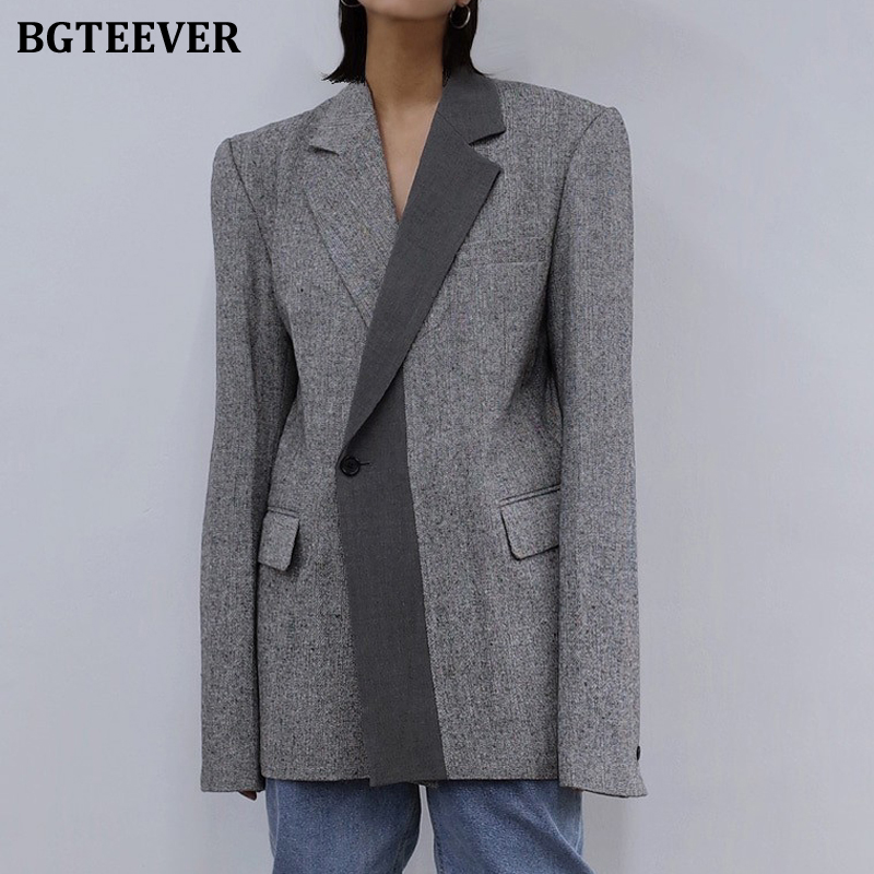 BGTEEVER Notched Collar Patchwork Women Blazer Fashion Chic Long Sleeve Pockets Single Button Loose Female Suit Jackets 2020