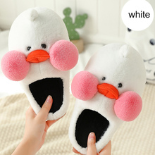 Duck slippers women Cute Cartoon Winter Plush Soft House shoes Home for female Memory Foam ball Non slip