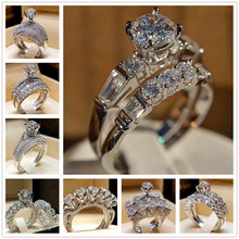 FDLK 8 Styles Silver Color Dazzling Exquisite Ladies Ring Set Bridal Wedding Party High Jewelry