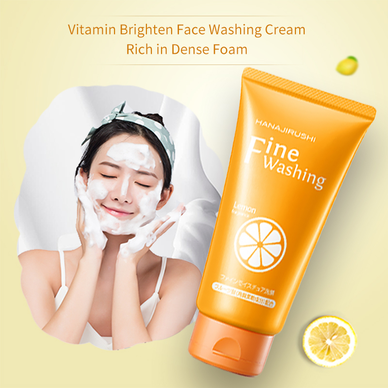 HANAJIRUSHI Vitamin C Facial Cleanser Whitening Moisturizing Brightening Face Wash Skin Care Deep Cleansing Pores Care 120g