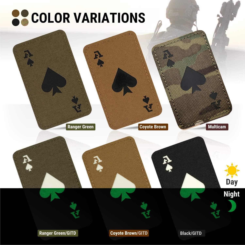 Parches tácticos reflectantes IR Ace of Spades Death Card, sujetadores con gancho que brillan en la oscuridad, insignias militares, apliques, 1 ud.