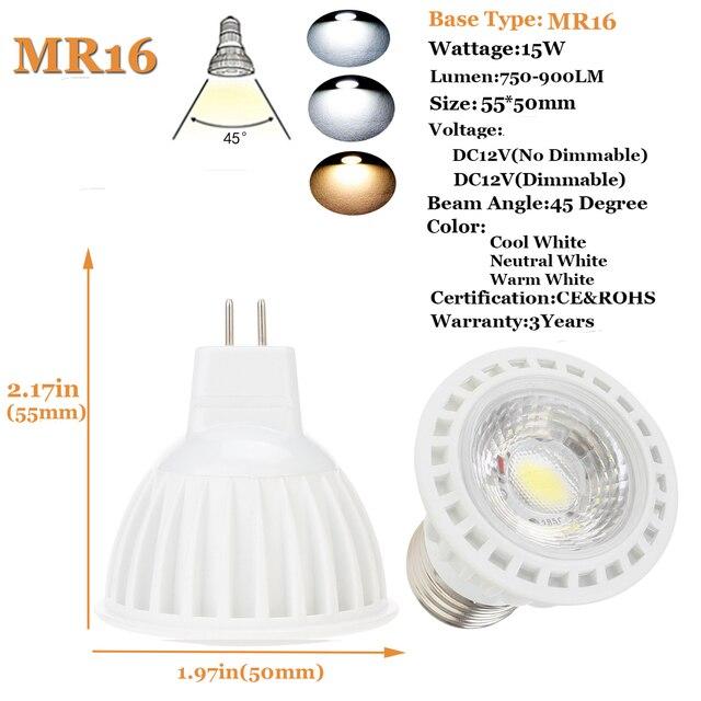 Dimmable 220V 110V 85-265V DC12V 15W GU10 MR16 E26 E27 COB LED Spot Light Bulbs