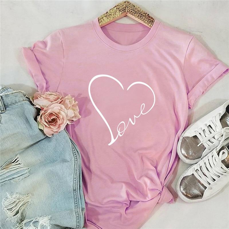 Plus Size S-5XL New Love Heart Print T Shirt Women Shirts 100%Cotton O Neck Short Sleeve Summer TShirt Tops Funny T Shirts