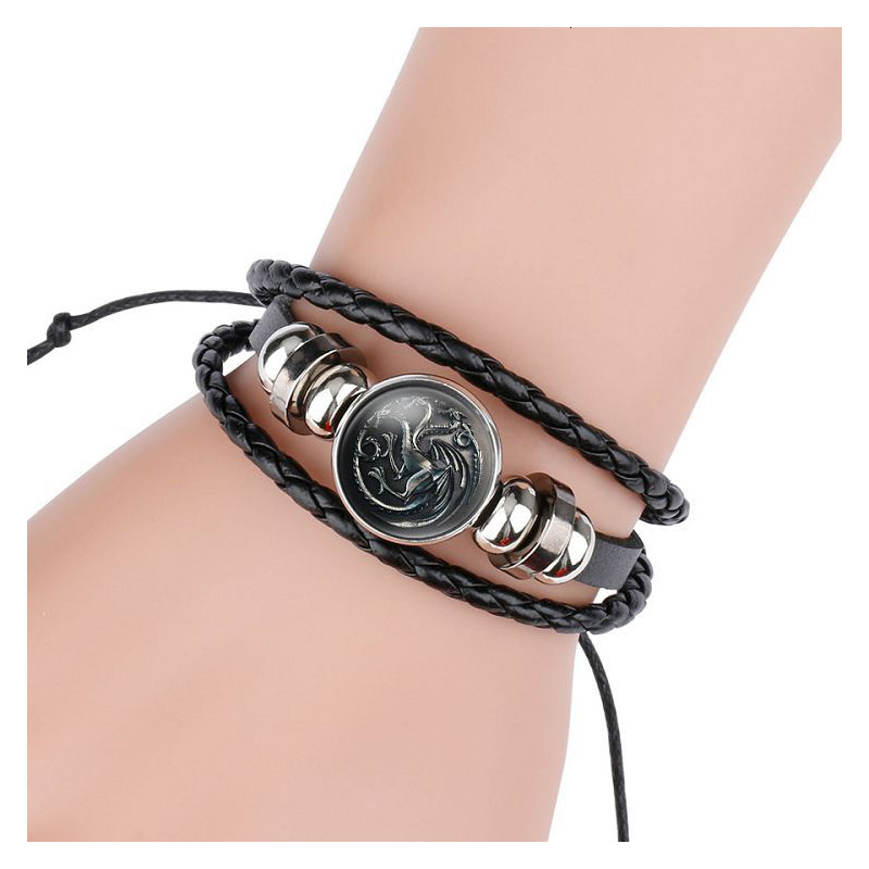 Game Of Thrones Bracelet Women/Men Bracelet Cosplay Prop Jewelry Accessories Badge Bangle Black Gem Leather Hand Chain