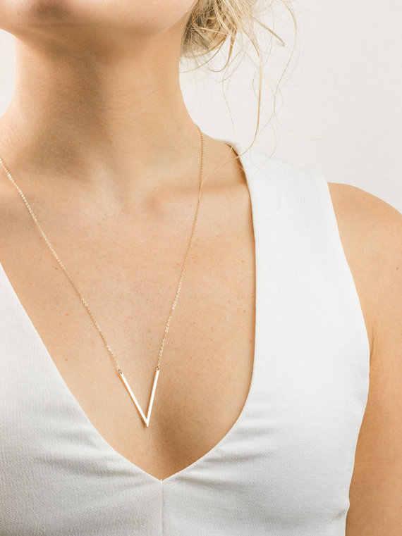 """Chữ Vòng Cổ Vàng Bạc Nữ Nữ Đơn Giản V Chữ Hình Học Mặt Dây Chuyền Collares Minimalistas Cổ Mujer """"Collier Femme 2018"""